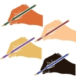writing hands with pencils vector image