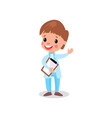 cute boy doctor in professional clothing with vector image