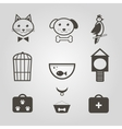 Pets icons Set of pets shop symbols isolated vector image