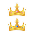 3d realistic golden crown set vector image