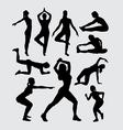 Aerobic women fitness sport silhouettes vector image vector image