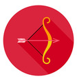 Archery Bow with Arrow Circle Icon vector image