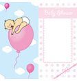 baby girl birth card vector image vector image