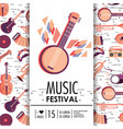 banjo and instruments to music festival event vector image vector image
