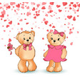 bears toys with pink bows valentine day vector image