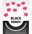 black friday banner in the form of a symbolic bag vector image vector image