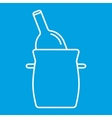 Bottle in bucket thin line icon vector image