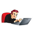 businessman using laptop vector image vector image