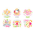 candy bar logo templates set sweet and tasty vector image vector image