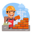 cartoon bricklayer at construction site vector image
