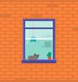cartoon neighbor character into window vector image vector image