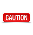 caution red three-dimensional square button vector image