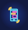 chat phone simple luminous neon outline colorful vector image