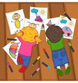 children draw on floor vector image vector image