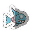 color fun fish carucature icon vector image vector image