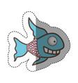 color fun fish carucature icon vector image