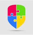 colorful puzzle four pieces silhouette shield vector image
