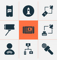 connection icons set with greeting on phone home vector image
