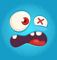 cool cartoon monster face yelling vector image