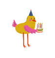 cute bird character holding birthday cake vector image