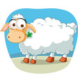 cute sheep chewing a lucky clover cartoon vector image vector image