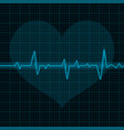 electrocardiogram blue waves with heart symbol vector image vector image