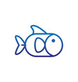 fish natural marine life thick line blue vector image vector image