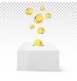 golden coin drop into money box donation and vector image