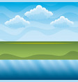 green hills and blue river sky landscape vector image vector image