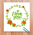 hand drawn i love you card typography vector image vector image