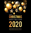 happy new 2020 year shining greeting card with vector image