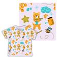 honey bear seamless pattern print shirt fabric vector image vector image