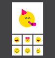 icon flat emoji set of smile cheerful joy and vector image vector image