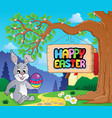 image with easter bunny and sign 3 vector image vector image