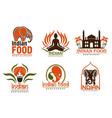 indian food chef taj mahal lotus and elephant vector image