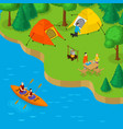 isometric camping and active recreation concept vector image vector image