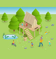 isometric wooden house in forest vector image