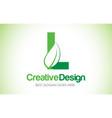 l green leaf letter design logo eco bio leaf vector image vector image