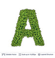 letter a symbol of green leaves vector image vector image