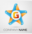 letter g logo symbol in the colorful star on grey vector image
