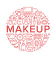 makeup beauty care red circle poster concept line vector image vector image