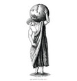 man carrying world art roman period hand draw vector image