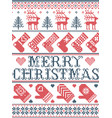 merry christmas scandinavian pattern nordic style vector image vector image