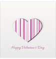 Modern Pink Striped Valentine Heart vector image vector image