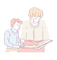 mother and son doing homework reading book vector image vector image
