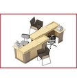 Office furniture workspace isometric flat vector image