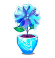 potted flower covered with icy glaze isolated on vector image vector image