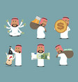 rich arab businessman with money character set vector image