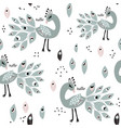 seamless pattern with peacoks creative childish vector image