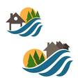set house and waves icons vector image